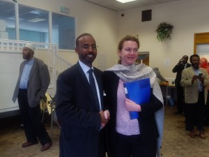 SOCOPA chief Executive Abdikayf Bashir Farah with the Ambassador Ms Mathews in Leicester.